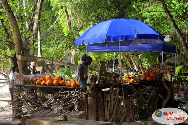 Obststand mit dem Kokosnussmann an der Anse Sévère