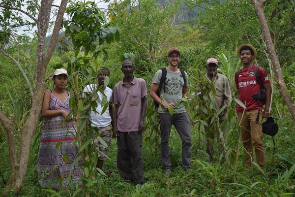 Vanille-Plantage in Andapa: Seit mehr als 52 Jahren hütet Miaro (3. v.l.) die wertvollen Pflanzen
