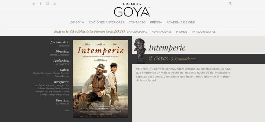 Premios Goya 2020 - Intemperie