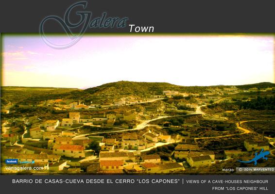 Barrio de casas-cueva desde el Cerro de Los Capones (2012, Galera, Granada)