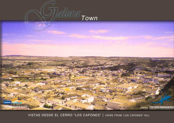 Vistas del centro de Galera desde el Cerro de Los Capones (2012, Galera, Granada)