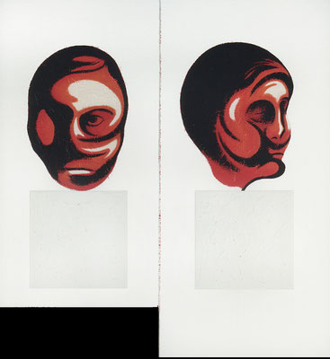 """""""Winterpaarköpfe""""   Acryl/Kreiden auf Hartfaserplatte  121/140 cm x 130 cm   1999"""