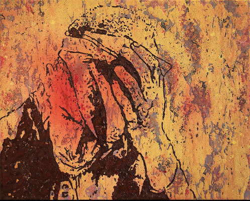 """absence 60 - Violence (Study of an injured Man)"" Öl/Acryl auf Baumwolle 40 cm x 50 cm 2019"