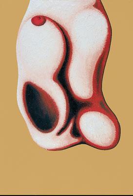 """""""Hängendes""""   Acryl/Kreiden auf Leinwand aus Hartfaserplatte   93 cm x 63,5 cm   2001"""