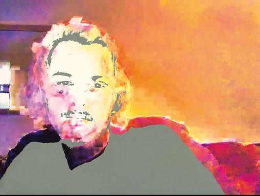 """absence 81 (Selfie)""  Latexprint/Öl auf Leinwand    110 cm x 130 cm  2021"