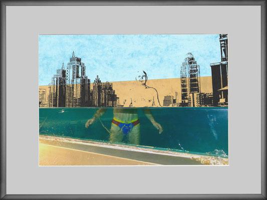 """""""Za 28""""     C-Print/Cut Out/Bleistift auf coloriertem Karton     29,7 cm x 21 cm     im Alurahmen     30 cm x 40 cm     2017"""