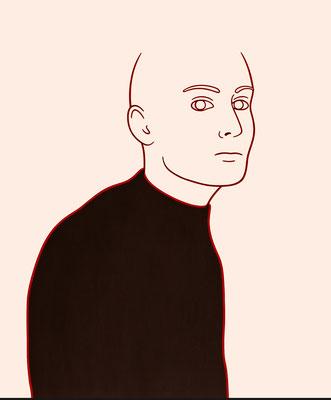 """trans figures: """"Person 3""""   Öl auf Baumwolle mit Acryl und Kohle   120 cm x 100 cm   2002/6"""