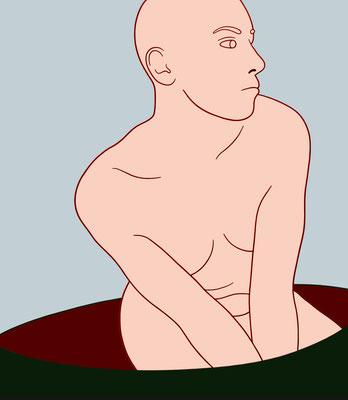 """trans figures: """"Akt""""   Öl auf Baumwolle mit Acryl und Kohle   160 cm x 140 cm   2007"""