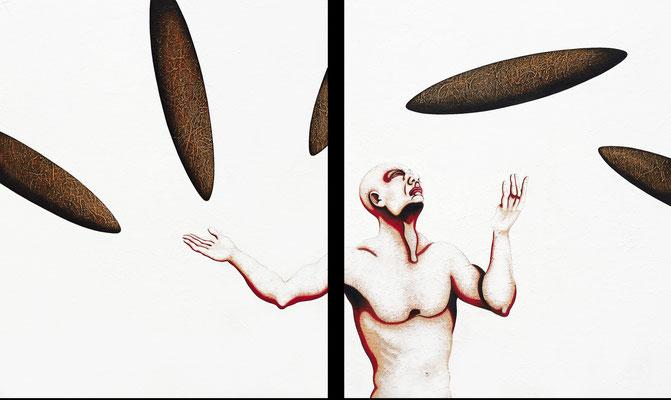 """""""Der Raum dazwischen""""   Acryl/Kreiden auf Hartfaserplatte   je 170 cm x 140 cm   2000"""