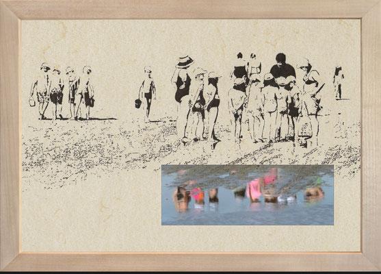 """""""Za 23""""     Bleistift auf coloriertem Karton/Cut Out/C-Print      21 cm x 29,7 cm     im Holzrahmen       2016"""