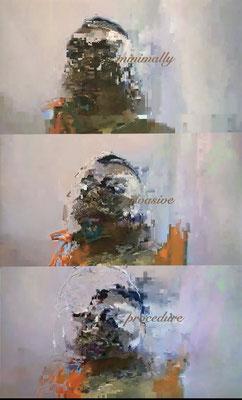 """absence 79 (Selfie)""  Latexprint/Öl auf Leinwand    150 cm x 90 cm  2021"