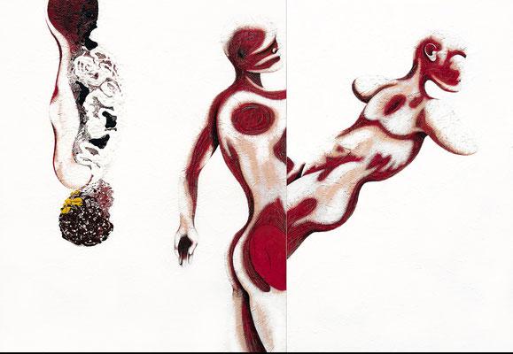 """""""Miteinander wachsen""""   Acryl/Kreiden auf Hartfaserplatte   160 cm x 233,5 cm   2000"""