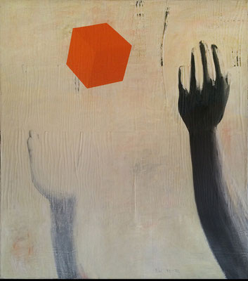 """O.T.""    Acryl auf Papier auf Leinwand   90 cm x 80 cm   1991/92"