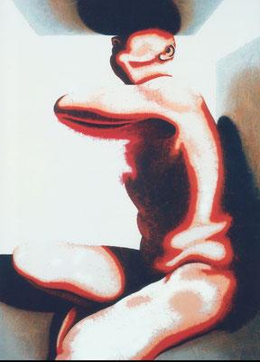 """""""Sich selbst aufbrechender Akt""""   Acryl/Kreiden auf Hartfaserplatte   180 cm x 130 cm   1999"""