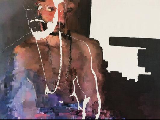 """absence 82 (Selfie)""  Latexprint/Öl auf Leinwand    110 cm x 130 cm  2021"