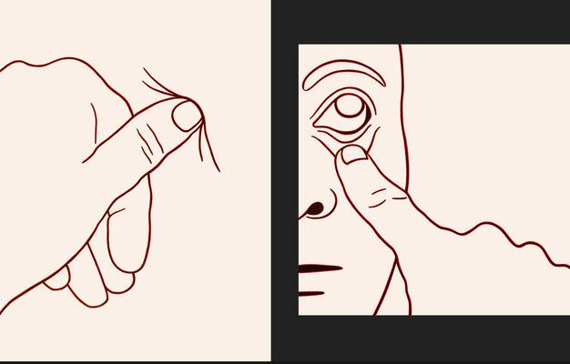 """trans figures: """"drückenziehenlassen""""   Diptychon   Öl auf Baumwolle mit Acryl und Kohle   80 cm x 60 cm/ 60 cm x 60 cm   2007"""