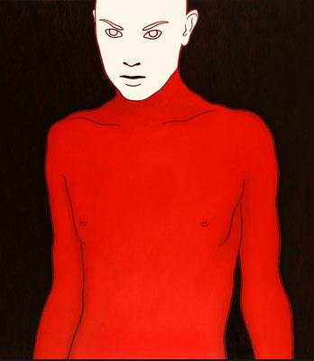 """trans figures: """"Zielperson 1""""   Öl auf Baumwolle mit Acryl und Kohle   160 cm x 140 cm   2002"""