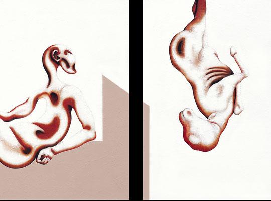 """""""Der Blick hinüber""""   Acryl/Kreiden auf Hartfaserplatte   je 160 cm x 103 cm   2000"""