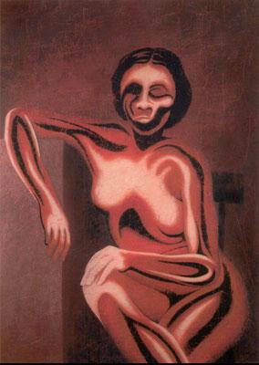 """""""Die Selbstverschwenderin""""   Acryl/Kreiden auf Hartfaserplatte   180 cm x 130 cm   1998"""