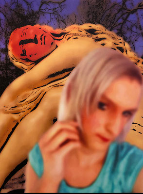 """absence 77 (Selfie)""  Latexprint/Öl auf Leinwand  100 cm x 75 cm  2020"
