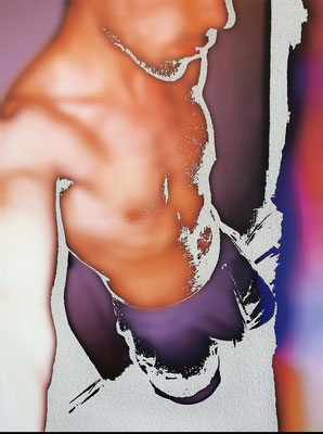 """absence 70 (Selfie)""  Latexprint/Öl auf Leinwand  100 cm x 75 cm  2020"