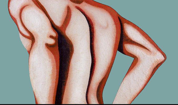 """""""Rückgrat""""   Acryl/Kreiden auf Leinwand auf Hartfaserplatte   60 cm x 103 cm   2001"""