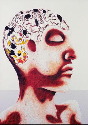 """""""Selbst, als Denker""""   Acryl/Kreiden auf Hartfaserplatte   180 cm x 130 cm   1999"""