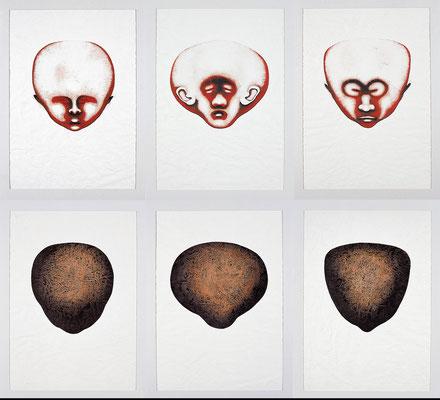 """Kopf/Form""   Acryl/Kreiden auf Papier   je 70 cm x 50 cm   2000"
