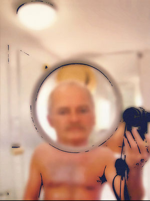 """absence 68 (Selfie)""  Latexprint/Öl auf Leinwand  100 cm x 75 cm  2020"
