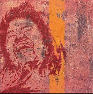 """absence 61 - violence (study of an injured woman)"" Öl/Acryl auf Baumwolle 60 cm x 60 cm 2019"