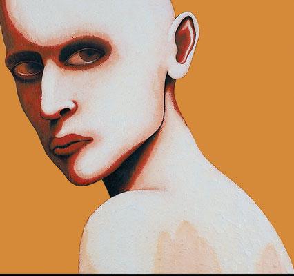 """""""Jemanden ansehen""""   Acryl/Kreiden auf Hartfaserplatte   62 cm x 67 cm   2001"""