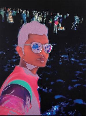 """absence 73 (Selfie)""  Latexprint/Öl auf Leinwand  100 cm x 75 cm  2020"