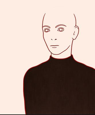 """trans figures: """"Person 1""""   Öl auf Baumwolle mit Acryl und Kohle   120 cm x 100 cm   2002/6"""