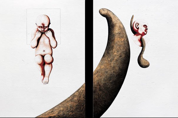 """Urlast""   Acryl/Kreiden auf Hartfaserplatte   je 180 cm x 130 cm   2000"