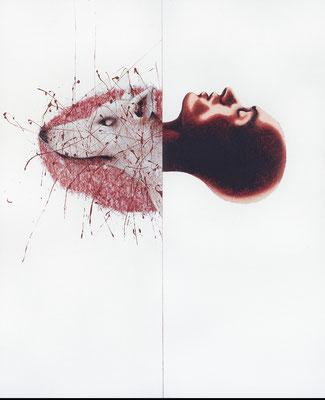 """""""Selbsterlebtes und Gehörtes""""   Acryl/Kreiden auf Hartfaserplatte  170 cm x 140 cm   1999"""