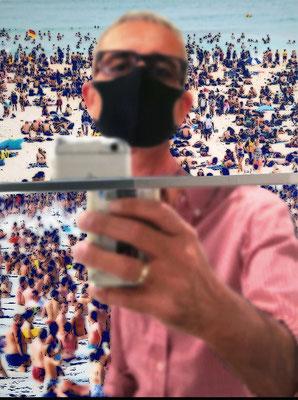 """absence 75 (Selfie)""  Latexprint/Öl auf Leinwand  100 cm x 75 cm  2020"