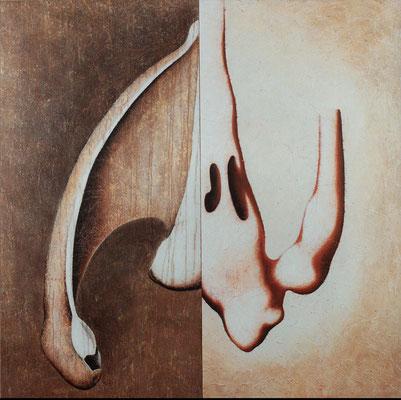 """""""Aus der Luft""""   Acryl/Kreiden auf Hartfaserplatte  150 cm x 151 cm   1998"""