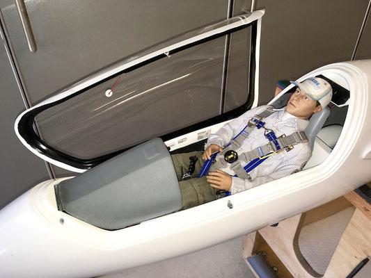 Einbauten Kabinenbereich mit Pilot und Sitzwanne sowie Instrumentenpilz