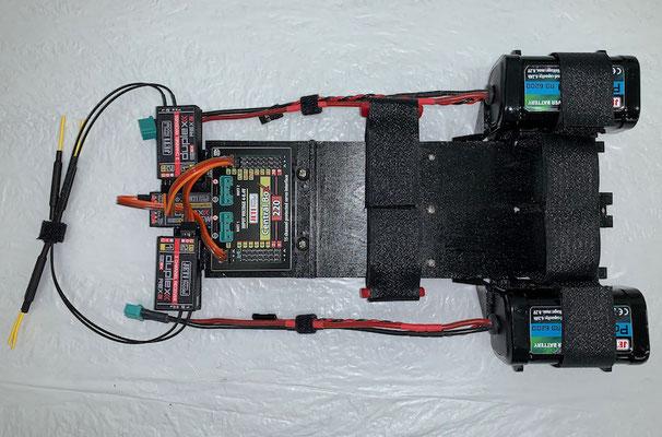 """Demontable RC-/Akkuhalterung mit montierten RC-Komponenten """"Erstellt"""""""