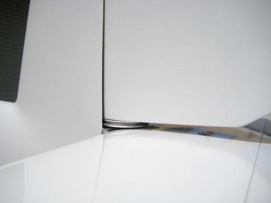 """Detail Ablenkungsscheibe Seitenruder """"Montiert-/Angelenkt"""""""