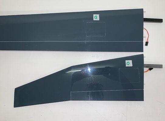 """Aussen-Tragflächen (Kurz und Lang), Querruder-Servo mit Gegenlager-Rahmen und IDS-Anlenkung """"Montiert"""""""