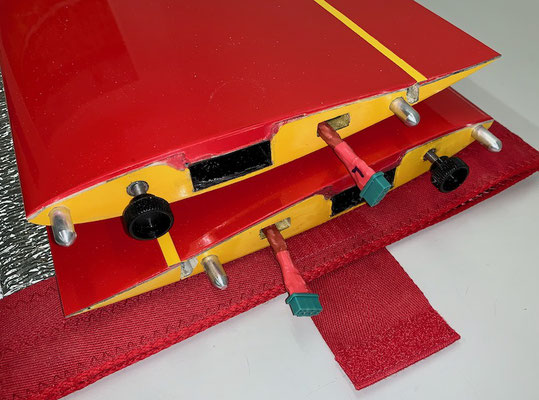 "Tragflächen, RC-MPX-Steckerverbindung zum Rumpf und Kabelbäume ""Montiert"""
