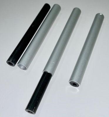 Rumpf, Aufbau der 107mm Distanzhülsen (10/6mm CFK-/ 12/10mm Alurohr) für Antriebsmontage!