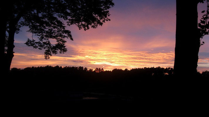 Sonnenuntergang Wiesenhof Terrasse