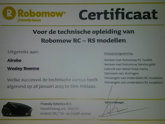 Alrobo certificated technical Robomow dealer