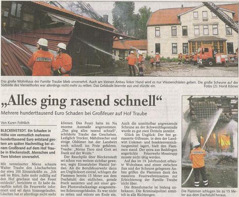 Großbrand in Bleckenstedt Scheune komplett abgebrannt Brandstiftung nicht ausgeschlossen 2007 Walther Traube