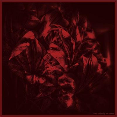 "Foulard en soie ""Lys rouge"" 130x130 cm"
