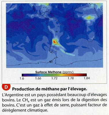 Production de méthane mesurée dans l'atmosphère au-dessus d'un pays. Source : Hatier SVT 2011 1ère ES/L