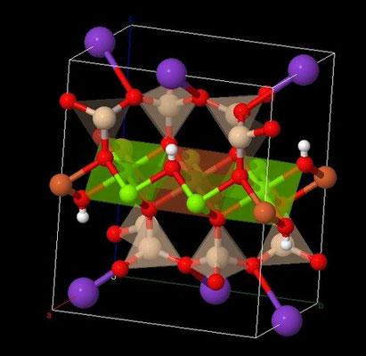 Structure atomique de la biotite (minéral constituant le granite). Source : usgeology.