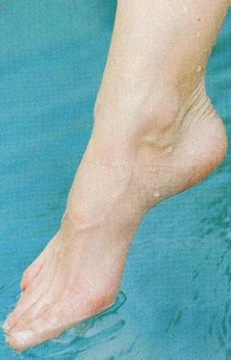 Photo d'un pied droit. On y voit des veines sous la peau !